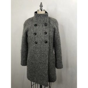 DKNY • Charcoal Tweed Wool Double Breasted Peacoat